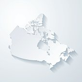 Canada map with paper cut effect on blank background