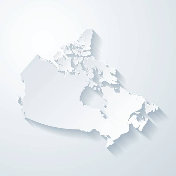 canada map with paper cut effect on blank background - kanada stock illustrations
