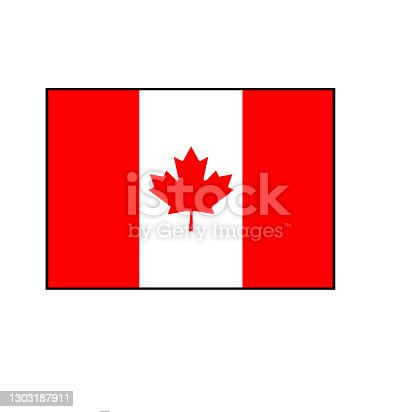 istock Canada Maple Leaf Red and White Flag in proportional rectangle. 1303187911