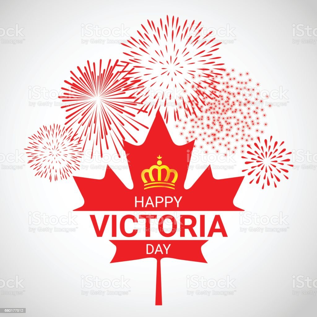 Canada maple Leaf  with fireworks for Victoria day vector art illustration