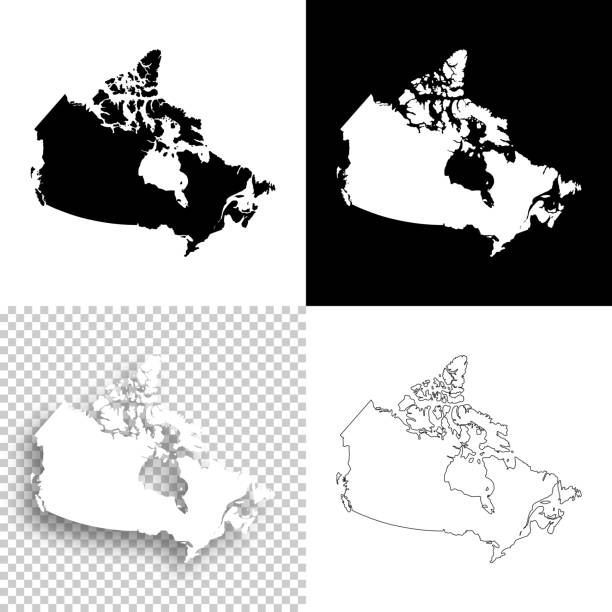canada maps for design - blank, white and black backgrounds - kanada stock illustrations