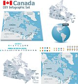 Set of the political Canada maps, markers and symbols for infographic
