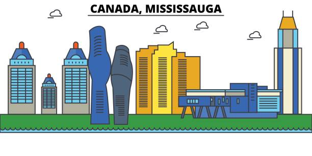 Canada, Mississauga. City skyline: architecture, buildings, streets, silhouette, landscape, panorama, landmarks. Editable strokes. Flat design line vector illustration concept. Isolated icons set Canada, Mississauga. City skyline: architecture, buildings, streets, silhouette, landscape, panorama, landmarks. Editable strokes. Flat design line vector illustration concept. Isolated icons mississauga stock illustrations