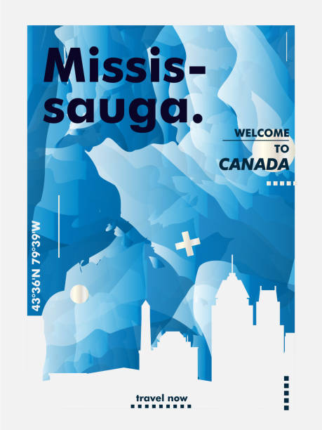Canada Mississauga skyline city gradient vector poster Modern Canada Mississauga skyline abstract gradient poster art. Travel guide cover city vector illustration mississauga stock illustrations