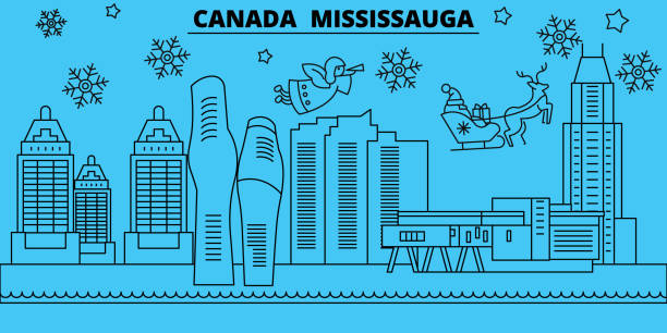 Canada, Mississauga winter holidays skyline. Merry Christmas, Happy New Year decorated banner with Santa Claus.Canada, Mississauga linear christmas city vector flat illustration Canada, Mississauga winter holidays skyline. Merry Christmas, Happy New Year decorated banner with Santa Claus.Flat, outline vector.Canada, Mississauga linear christmas city illustration mississauga stock illustrations