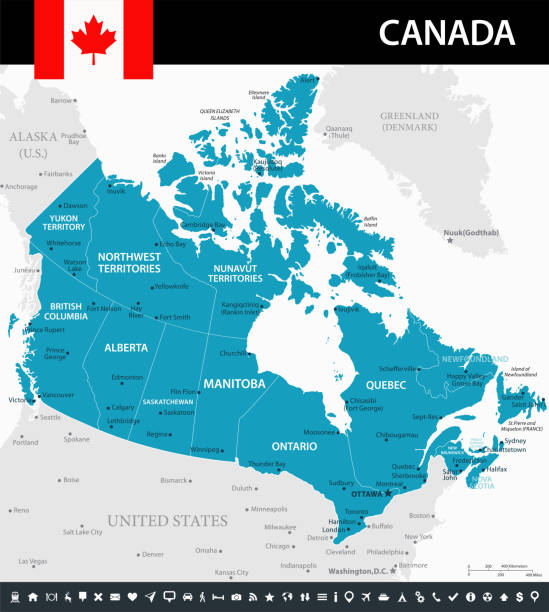 10 - Canada - Murena 10 Map of Canada - Vector illustration mississauga stock illustrations