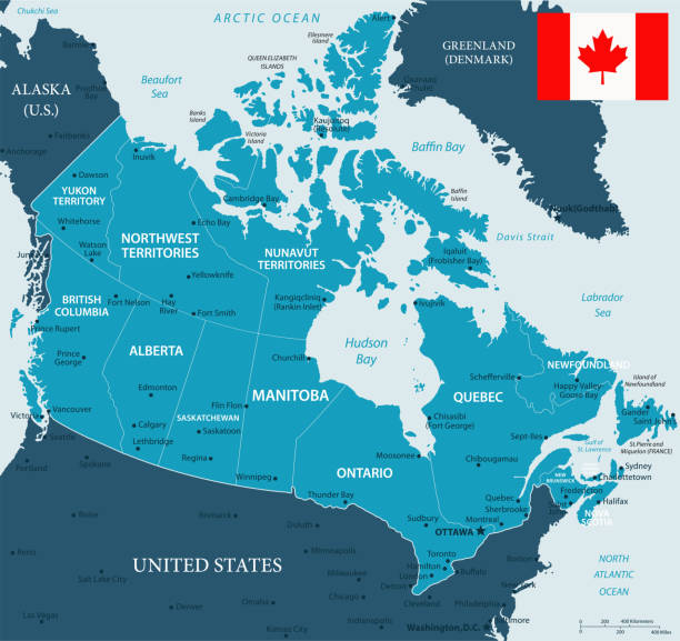 32 - Canada - Murena Dark 10 Map of Canada - Vector illustration mississauga stock illustrations