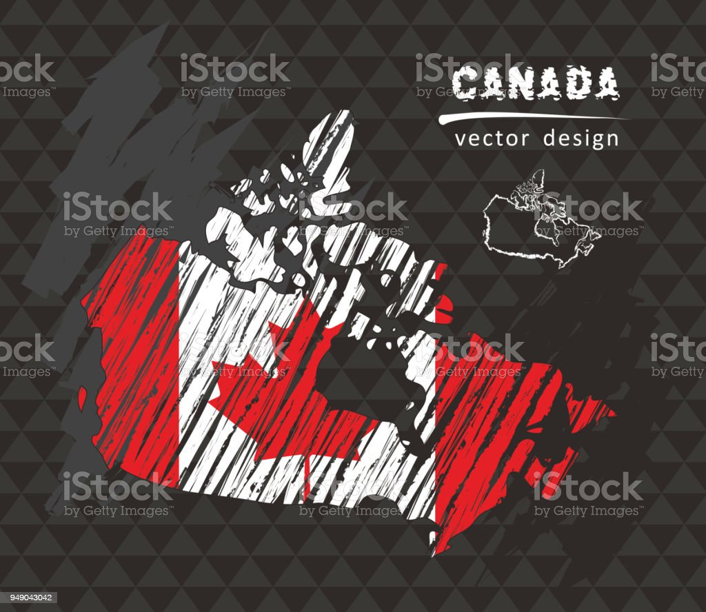 Canada national vector map with sketch chalk flag. Sketch chalk hand drawn illustration vector art illustration