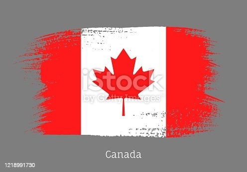 istock Canada official flag in shape of brush stroke 1218991730