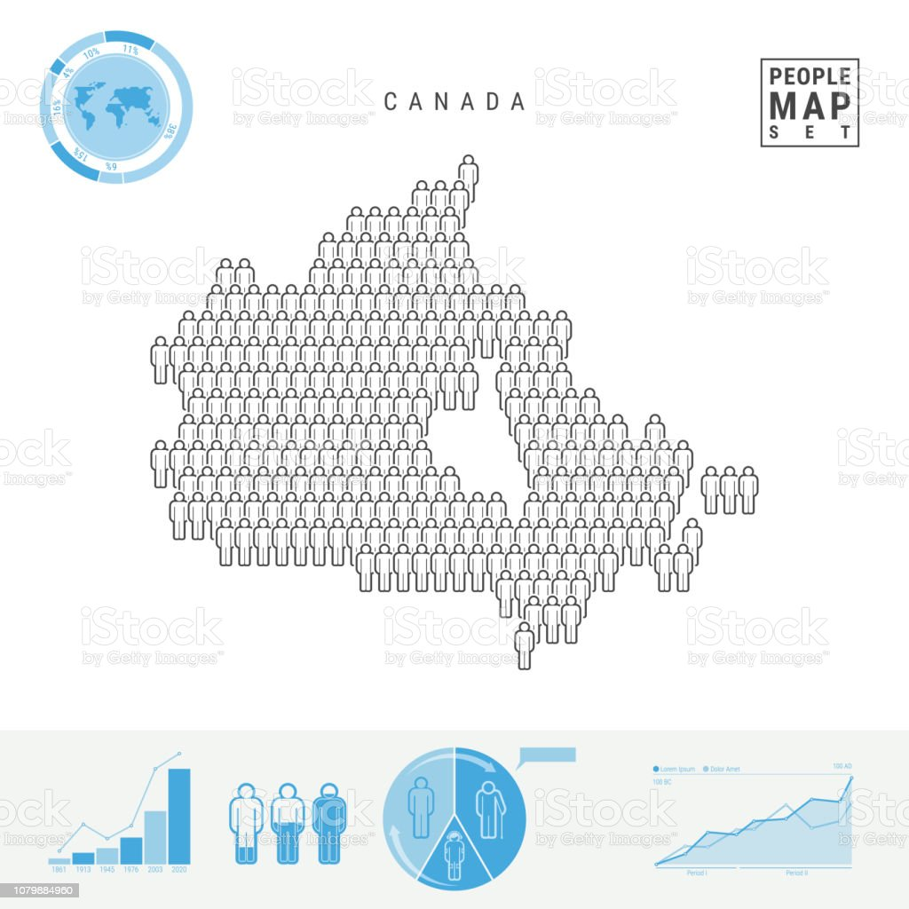 Map Of Canada Silhouette.Canada People Icon Map Stylized Vector Silhouette Of Canada