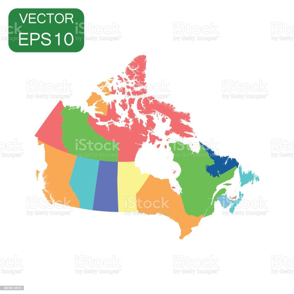Canada pilitical map icon. Business cartography concept Canada pictogram. Vector illustration on white background.