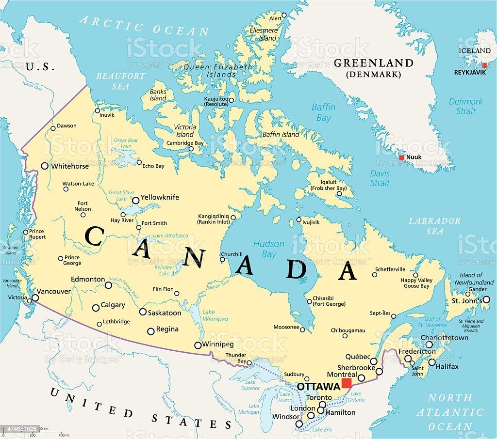 Canada Political Map vector art illustration