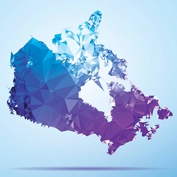 Canada Polygon Triangle Map Blue Abstract Polygon Triangle vector map of Canada. File was created in DMesh Pro and Adobe Illustrator on May 15, 2014. The colors in the .eps-file are in RGB. Transparencies used. Included files are EPS (v10) and Hi-Res JPG (5035 x 5035 px). map crystal stock illustrations