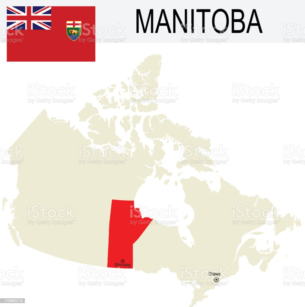 Canada Province : Manitoba map and Flag vector art illustration