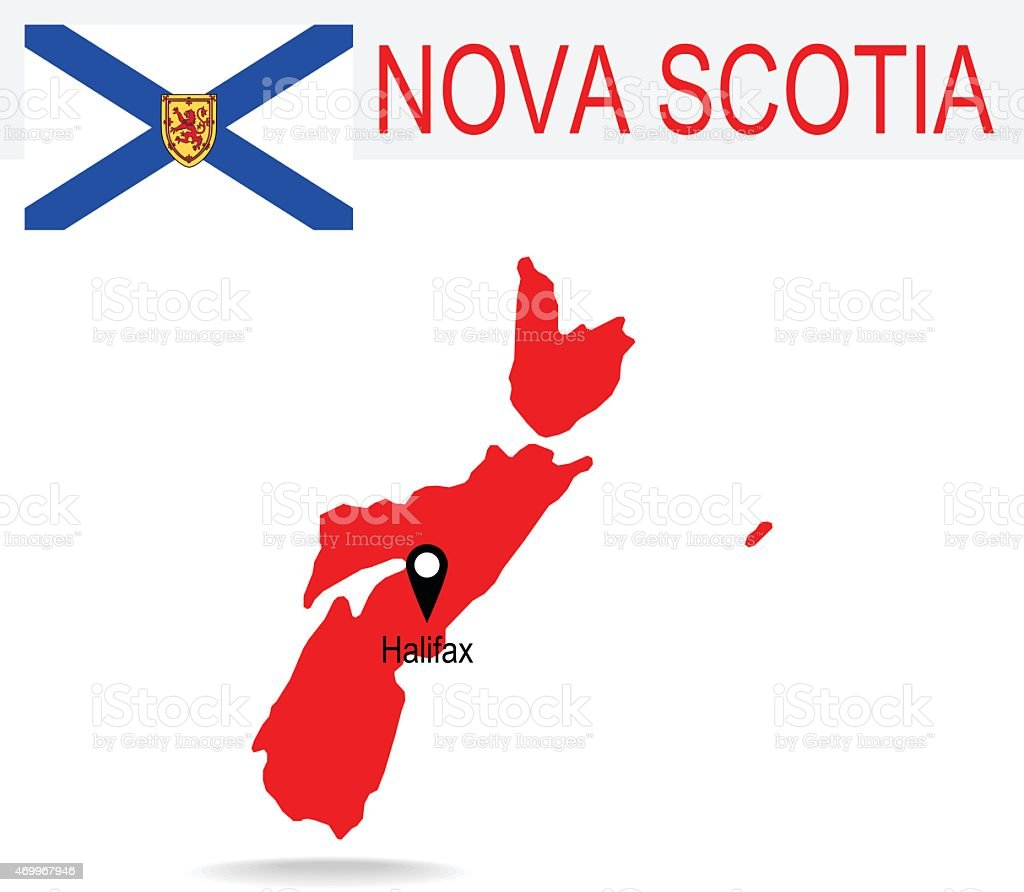 Canada Province Nova Scotia Map And Flag Stock Vector Art - Canada map with flag