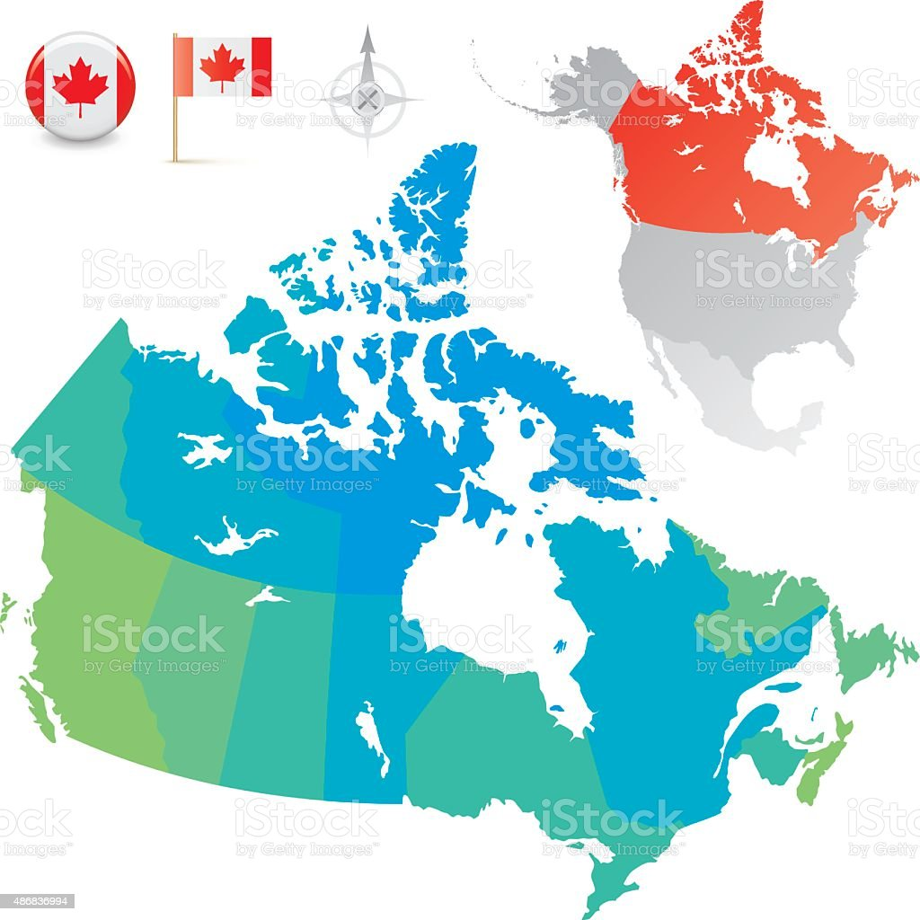 Canada Provinces And Territories Map Stock Illustration ...