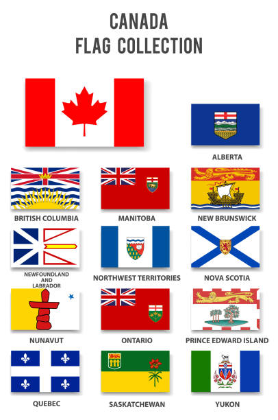 Canada Provinces Flag Collection Canada Provinces Flag Collection quebec stock illustrations
