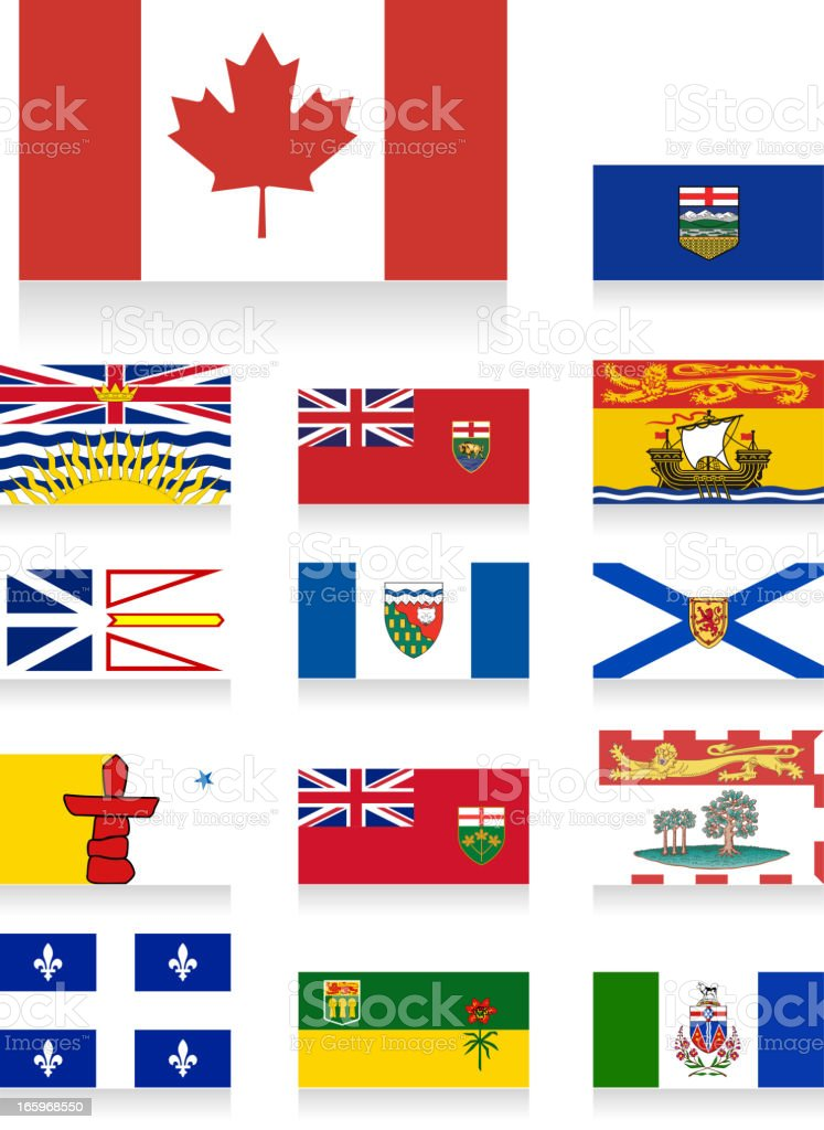 Canada provincial flags vector art illustration
