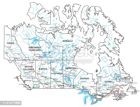 Canada road and highway map. Vector illustration. Organized vector illustration on seprated layers.