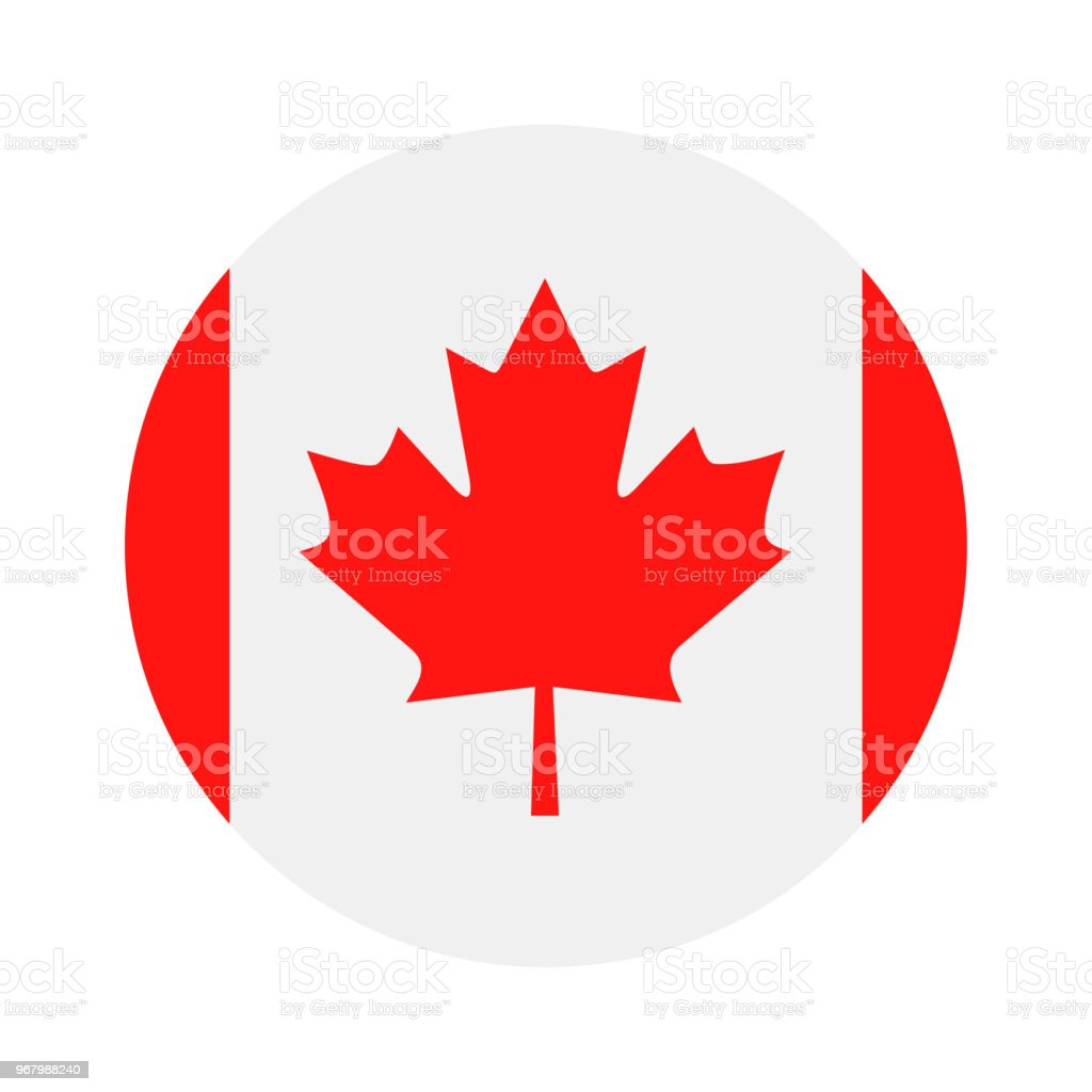 Canadá - redonda plana no ícone Vector bandeira - ilustração de arte em vetor