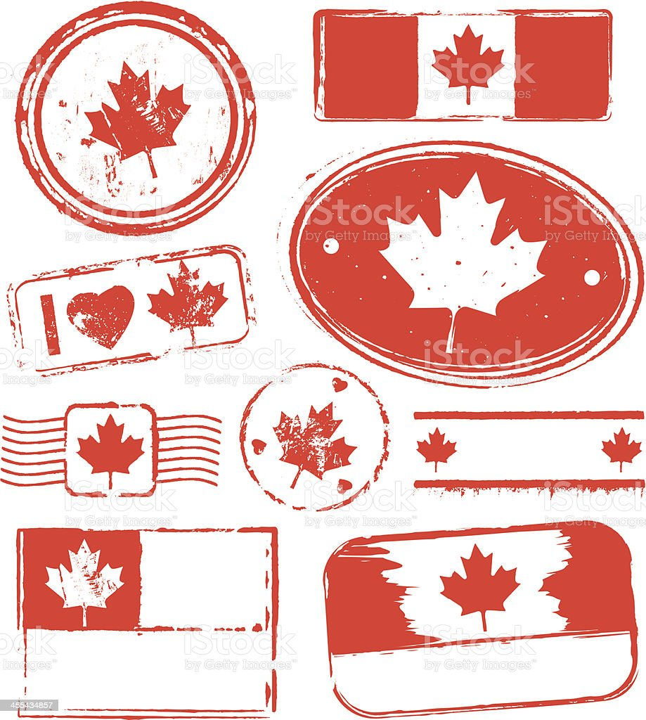 Canada Rubber Stamps royalty-free stock vector art