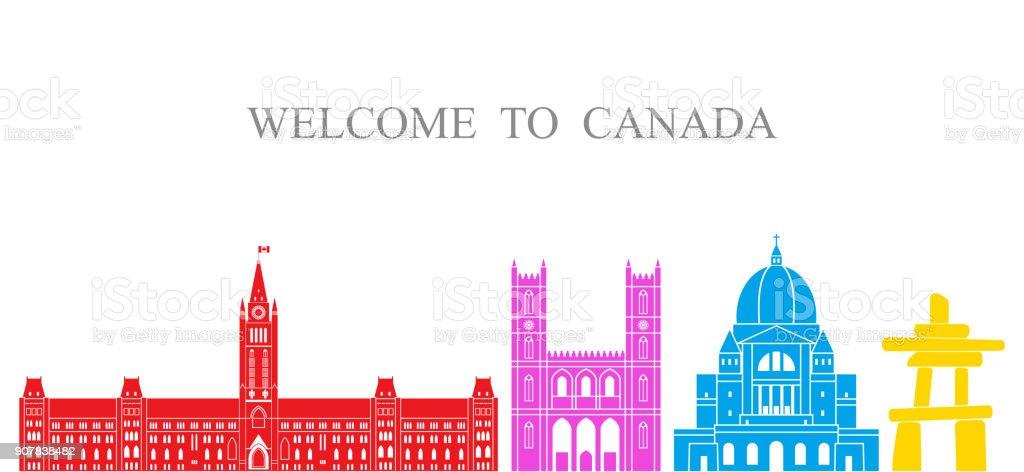 Canada set. Isolated Canada architecture on white background vector art illustration
