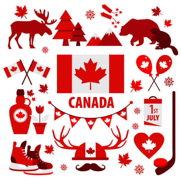 canada sign and symbol, info-graphic elements flat icons set. - kanada stock illustrations