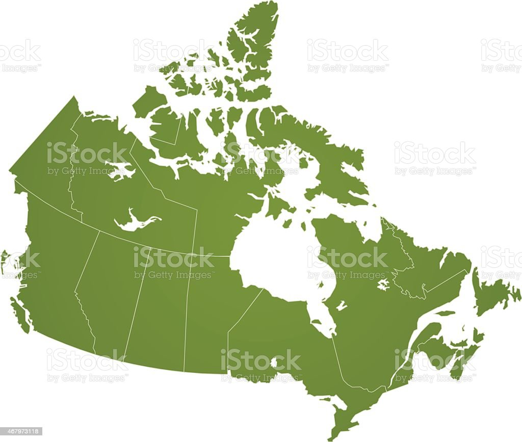 Simple Map Of Canada.Canada Simple Green Map On White Background Stock Illustration