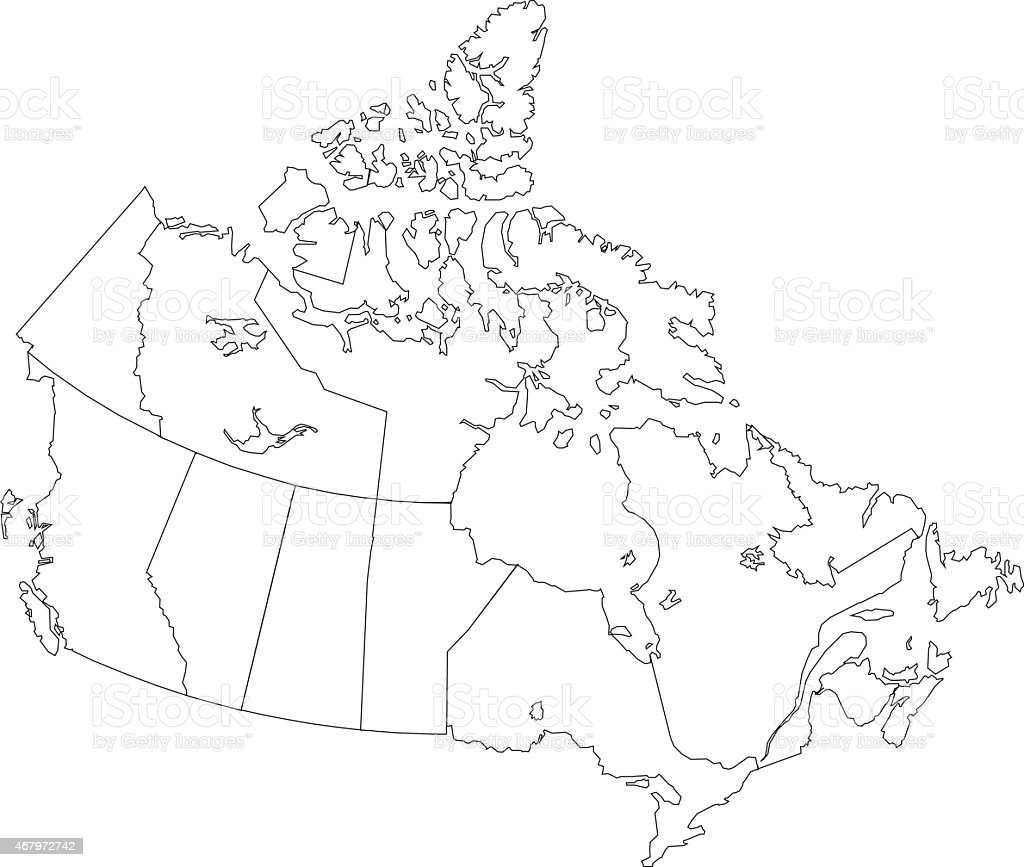 Canada simple outline map on white background vector art illustration