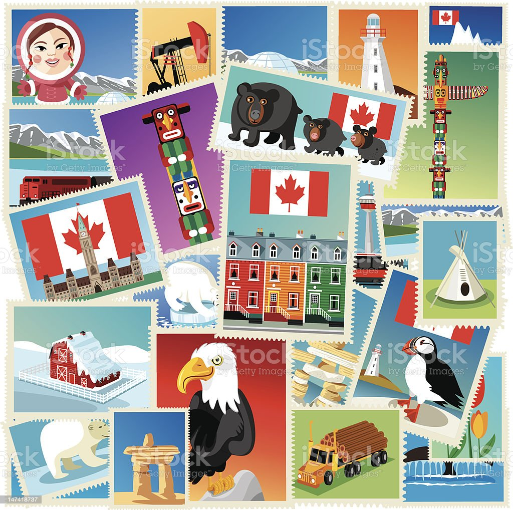 Canada stamps royalty-free stock vector art