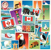 Vector illustration Canada stamps