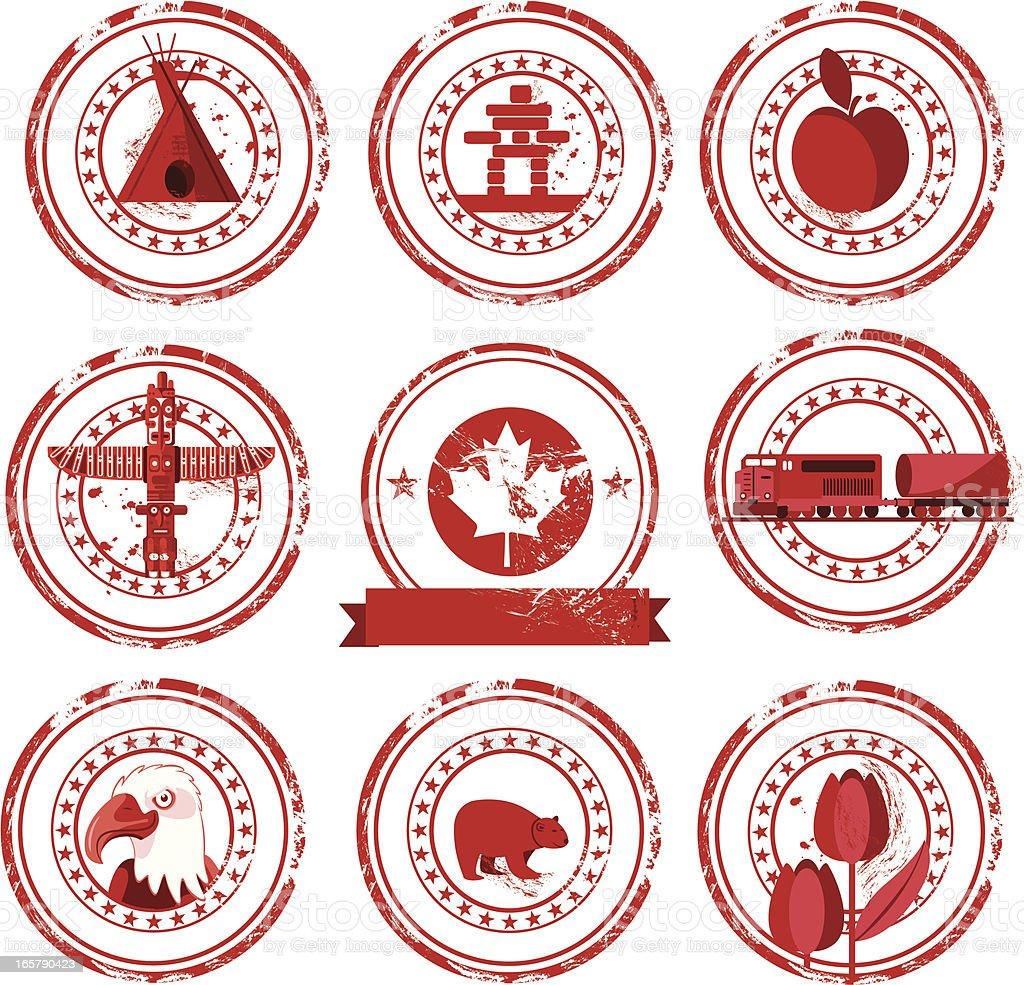 Canada stamps vector art illustration