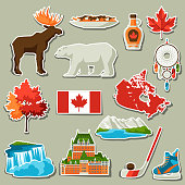 Canada sticker icons set. Canadian traditional symbols and attractions.