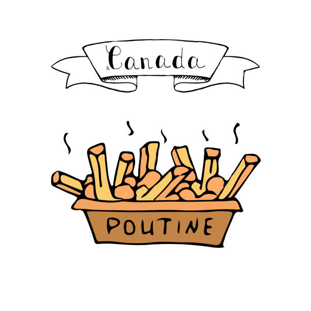 Canada symbolic Icon Hand drawn doodle Poutine icon traditional quebec meal with french fries gravy and cheese curds Vector illustration isolated on whire Canadian breakfast symbol Cartoon element of Canada food maple syrup stock illustrations