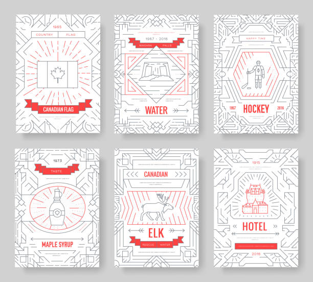 Canada thin line brochure cards set. Country traditional template of flyear, magazines, posters, book cover, banners. Architecture outline invitation concept background. Layout quality modern pages vector art illustration