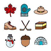 Canada Thin Line Icon Set
