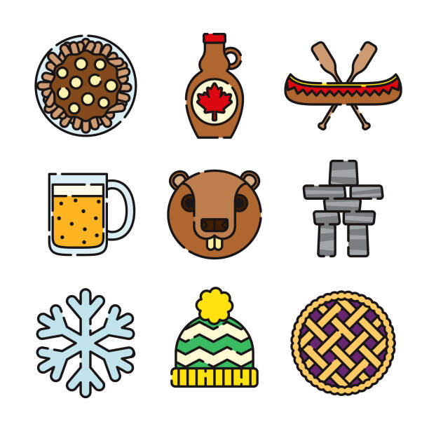Canada Thin Line Icon Set A set of 25 color thin line Canadian icons. File is built in the CMYK color space for optimal printing, and can easily be converted to RGB. Color swatches are global for quick and easy color changes throughout the entire set of icons. maple syrup stock illustrations
