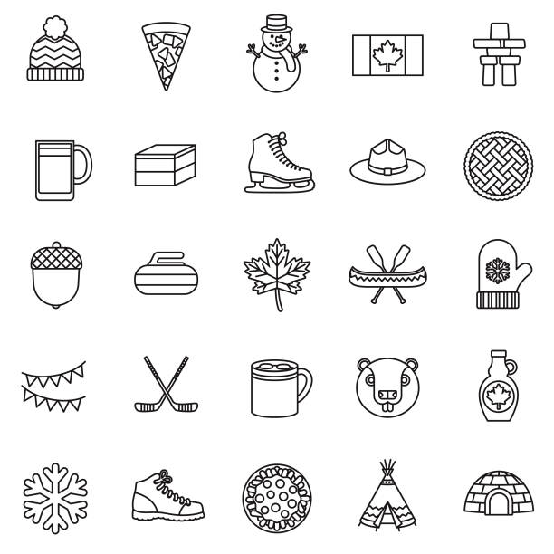 Canada Thin Line Icon Set A set of 25 thin line icons in a contemporary style. The vector EPS file is built in the CMYK color space for optimal printing. maple syrup stock illustrations