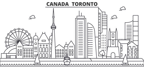 Canada, Toronto architecture line skyline illustration. Linear vector cityscape with famous landmarks, city sights, design icons. Landscape wtih editable strokes Canada, Toronto architecture line skyline illustration. Linear vector cityscape with famous landmarks, city sights, design icons. Editable strokes waterfront stock illustrations
