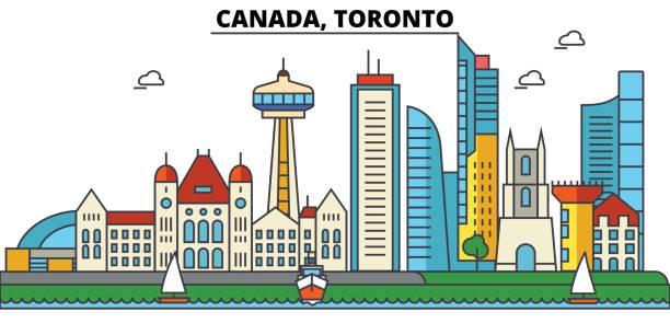 canada, toronto. city skyline: architecture, buildings, streets, silhouette, landscape, panorama, landmarks. editable strokes. flat design line vector illustration concept. isolated icons set - toronto stock illustrations