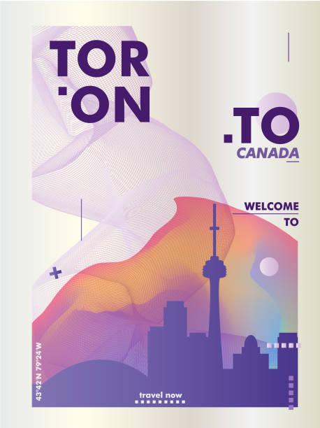 canada toronto skyline gradient poster. - toronto stock illustrations