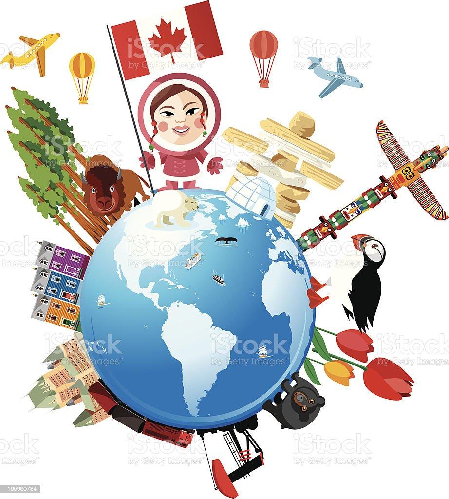 Canada Travel Cartoon vector art illustration