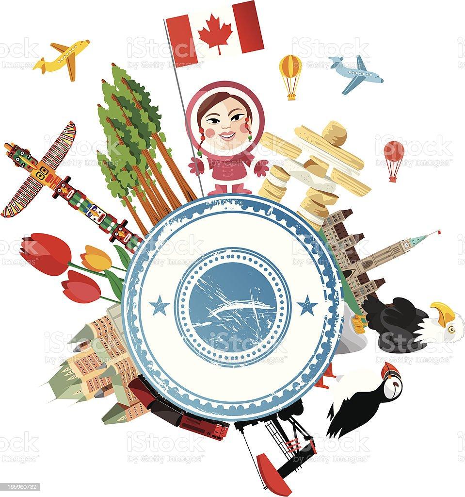 Canada Travel Symbols vector art illustration