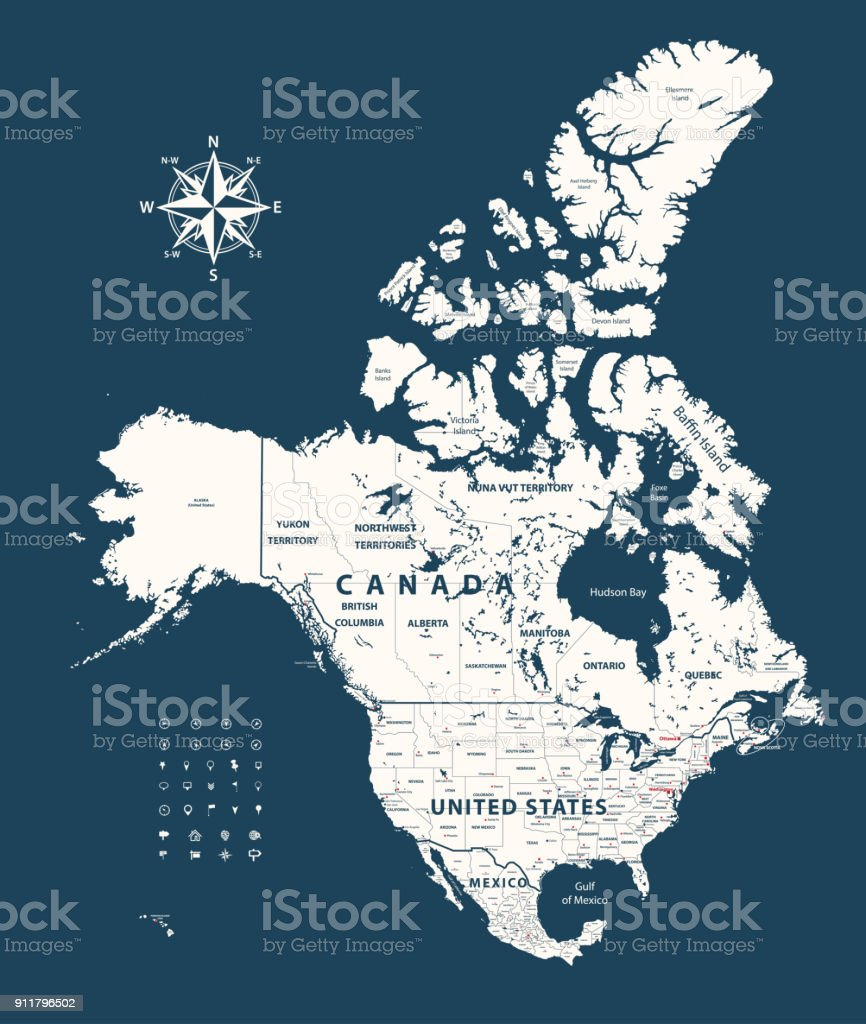 Canada United States And Mexico Map With States Borders On ... on west rivers in united states, district of columbia map united states, british columbia map with cities, british columbia map alaska, columbia river map united states, british columbia canada, british columbia and alberta road map, columbia city in the united states, british columbia usa,