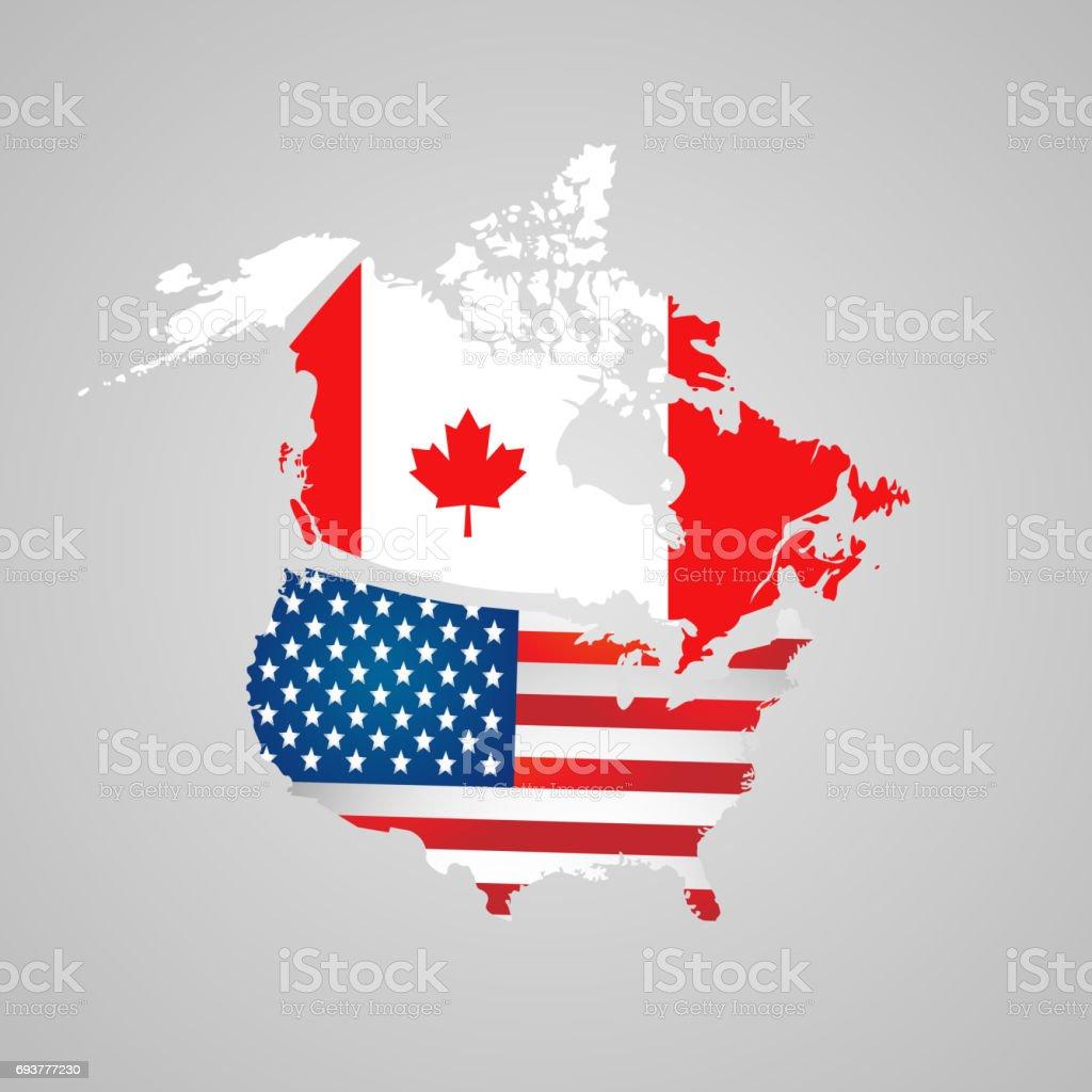 Kanada Usakarte Fahnen Nordamerikanischen Land Mit Karte Zeiger ...