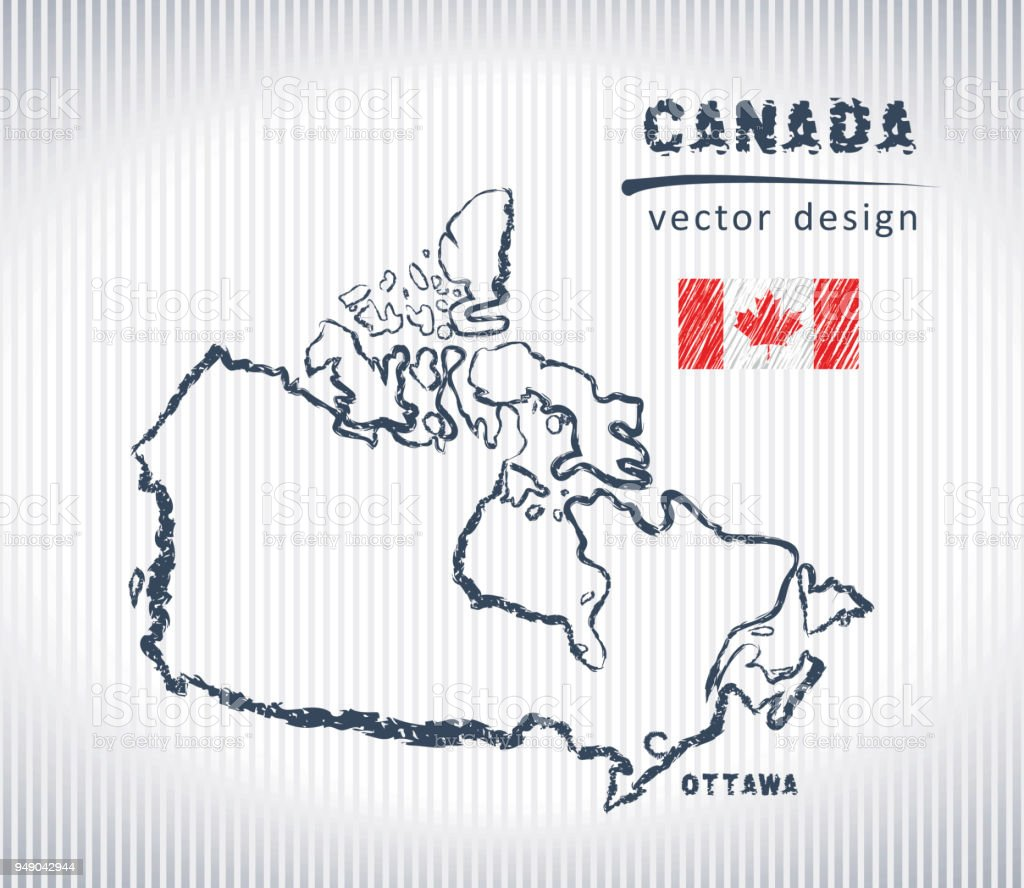 Canada vector chalk drawing map isolated on a white background vector art illustration