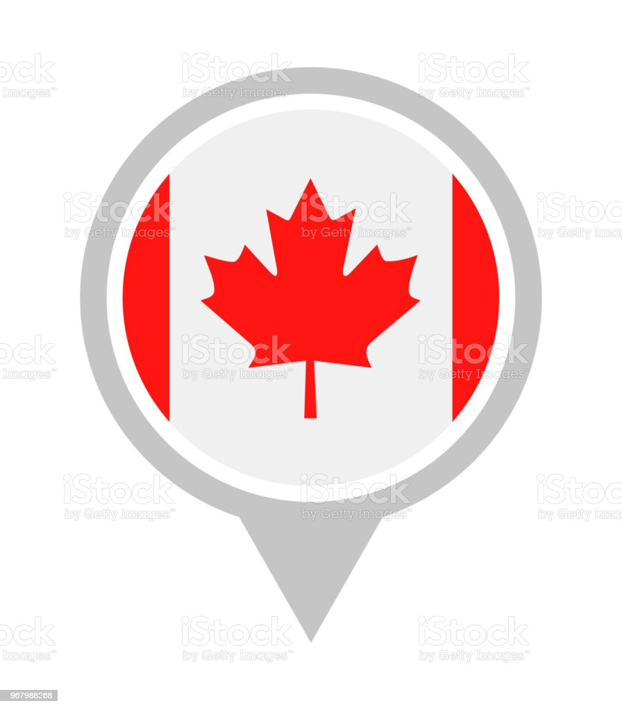 Canada - Vector Round Flag Pin Flat Icon vector art illustration