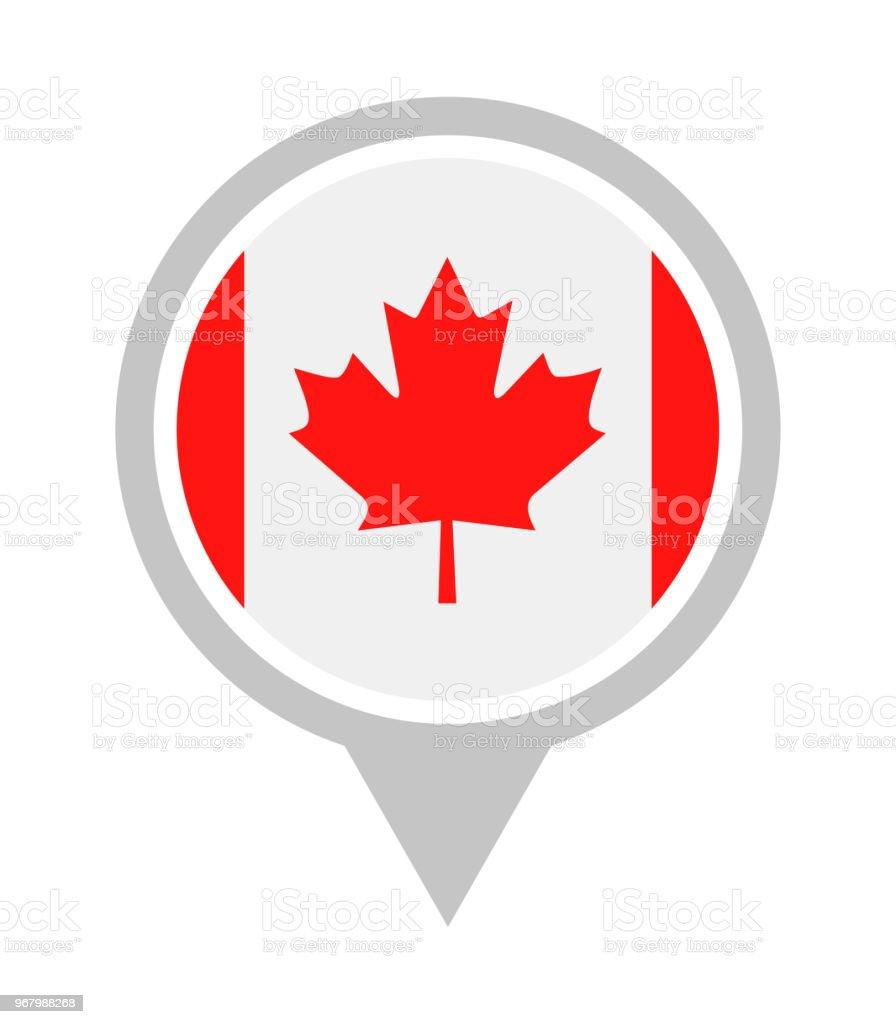 Canadá - Vector redonda bandeira pino liso ícone - ilustração de arte em vetor