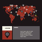 Canada vector world travel map with airplanes