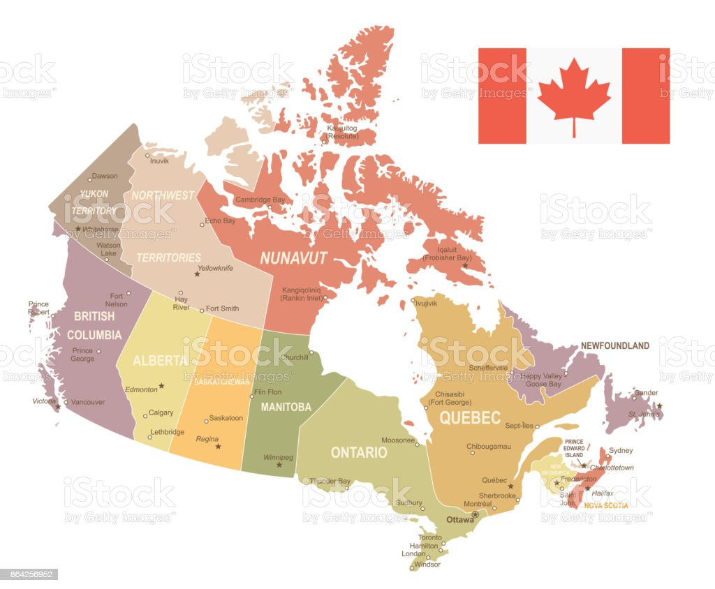 Canada - vintage map and flag - illustration royalty-free canada vintage map and flag illustration stock vector art & more images of brown